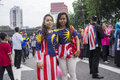 Malaysia independence day th kuala lumpur august unidentified young girl wearing national flag dress during celebration of Royalty Free Stock Photo