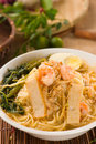 Malaysian famous prawn noodle or har mee with decorations on background Royalty Free Stock Photo