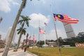 Malaysian flags at half mast following mh incident a nation in mourning the jalur gemilang flown dataran merdeka kuala lumpur the Stock Photos