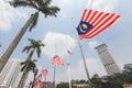 Malaysian flags at half mast following mh incident a nation in mourning the jalur gemilang flown dataran merdeka kuala lumpur the Royalty Free Stock Image