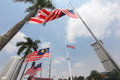 Malaysian flags at half mast following mh incident a nation in mourning the jalur gemilang flown dataran merdeka kuala lumpur the Royalty Free Stock Images