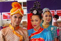 Malaysian folkloric dancers wearing traditional malaysia costumes Stock Photo