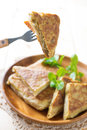 Malaysian food murtabak usually sold in indian muslim restaurants and stalls stuffed with minced mutton garlic egg and onion and Royalty Free Stock Photos