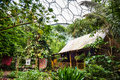 Malaysian rainforest house display at Eden Project. Royalty Free Stock Photo