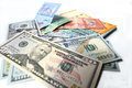 Malaysian ringgit and United States Dollar on a white background Royalty Free Stock Photo