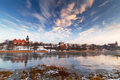 Malbork city with frozen Nogat river Stock Photos