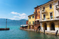Malcesine coast of lake garda focus on house facades Royalty Free Stock Images