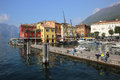 Malcesine harbor the in on lake garda lago di garda italy Stock Photos
