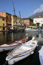 Malcesine harbor the in on lake garda lago di garda italy Stock Photography