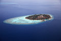Maldive island kurumba aerial view of the vihamanaafushi Stock Image