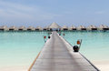 Maldives arrival jetty the of the kanuhura atool of the nation of the Royalty Free Stock Images