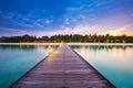 Maldives resort bridge. Beautiful landscape with palms and blue lagoon Royalty Free Stock Photo
