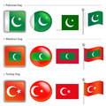 Maldives and Turkey, Pakistan Flag Icon Stock Image