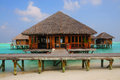 Maldives water villas and spa at meeru island Royalty Free Stock Images