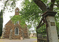 Maldon s heritage listed holy trinity anglican church is a gothic revival structure of local schist and grey granite victoria Royalty Free Stock Photography