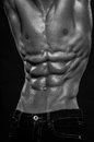 Male abs muscled model torso with Stock Photo