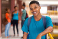 Male african college student handsome looking at the camera Royalty Free Stock Image