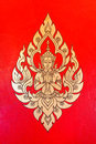 Male angel thai painting on temple s wall in thailand design Royalty Free Stock Photography