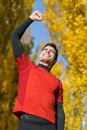 Male athlete celebrating victory Royalty Free Stock Photography
