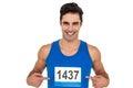 Male athlete posing on white background Royalty Free Stock Photo