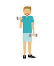 Male athlete practicing weight lifting isolated icon design Royalty Free Stock Photo