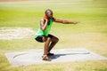 Male athlete preparing to throw shot put ball Royalty Free Stock Photo