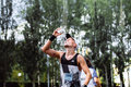 Male athlete runner hot weather pouring water on head ekaterinburg russia august during marathon europe asia Stock Photography