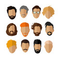 Male avatar icons vector set. People characters in flat style.