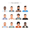 Male avatar icons vector set. People characters in flat style. Faces with different styles and nationalities.