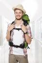 Male backpacker traveler