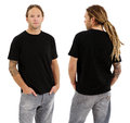 Male with blank black shirt and dreadlocks photo of a in his early thirties long posing a front back views ready for your Stock Photography