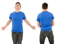 Male with blank blue shirt and outstretched arms photo of a in his late teens posing a front back views ready for your artwork or Royalty Free Stock Image