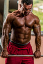 Male bodybuilder doing heavy weight exercise for trap body builder Stock Photography
