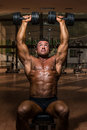 Male bodybuilder doing shoulder press whit dumbbell body builder Royalty Free Stock Image