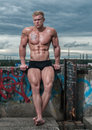 Male bodybuilder fit model serge henir with a sky background Stock Images
