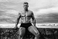 Male bodybuilder fit model serge henir with a sky background Royalty Free Stock Photography