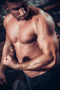 Male bodybuilder flexing his muscles Royalty Free Stock Photo