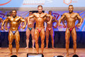 Male bodybuilders flex their muscles to show their physique maastricht the netherlands october and shows best front pose on stage Royalty Free Stock Images