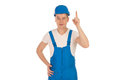 Male builder in blue uniform Royalty Free Stock Photo