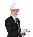 Male builder in helmet with papers white isolated on white Stock Photo