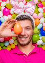 Male bunny funny easter portrait of with ears Stock Photo