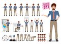 Male business character creation vector set. Office man cartoon character Royalty Free Stock Photo