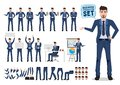 Male business character vector set. Business man cartoon character creation Royalty Free Stock Photo
