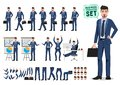Male business character vector set. Business man cartoon character creation set Royalty Free Stock Photo