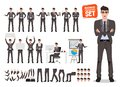 Male business character vector set. Cartoon character creation of business man standing Royalty Free Stock Photo