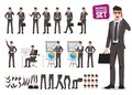 Male business characters vector set. Cartoon character creation of business man holding moblie phone Royalty Free Stock Photo