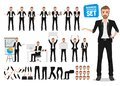 Male business vector character set. Business man cartoon character creation Royalty Free Stock Photo