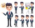 Male business vector character set. Businessman professional characters set happy talking and standing. Royalty Free Stock Photo