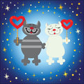 Male cat and pussycat with hearts on colourful background Stock Image