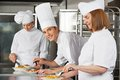 Male chef with colleagues working in kitchen portrait of young female industrial Royalty Free Stock Photos